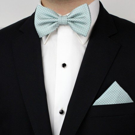 Mint Pin Dot Bowtie and Hanky Set Styled