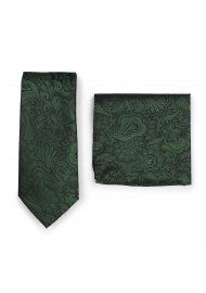 Pine Forest Green Paisley Tie + Hanky Set