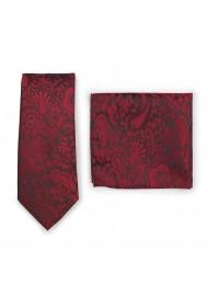Bordeaux Red Paisley Tie Set