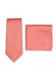 Matte Textured Tie + Hanky in Neon Coral