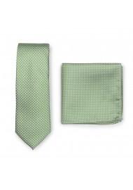 Sage Green Pin Dot Tie Set