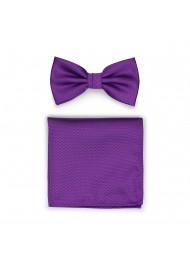 Violet Purple Bow Tie Set in Matte Textured Weave
