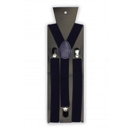 Elastic Band Suspenders in Classic Navy Packaging