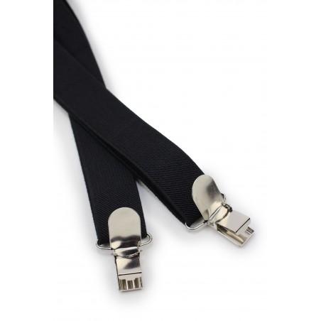 Formal Jet Black Suspenders Clips