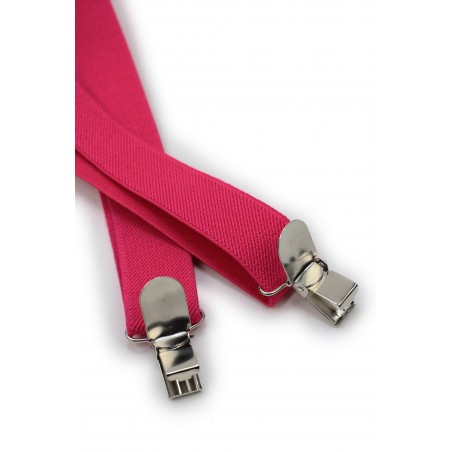 Magenta Pink Elastic Band Suspenders Clips