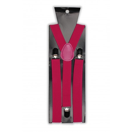 Magenta Pink Elastic Band Suspenders Packaging