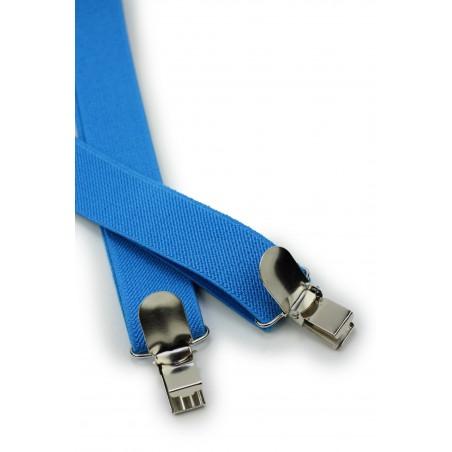 Mens Suspenders in Cyan Blue Clips