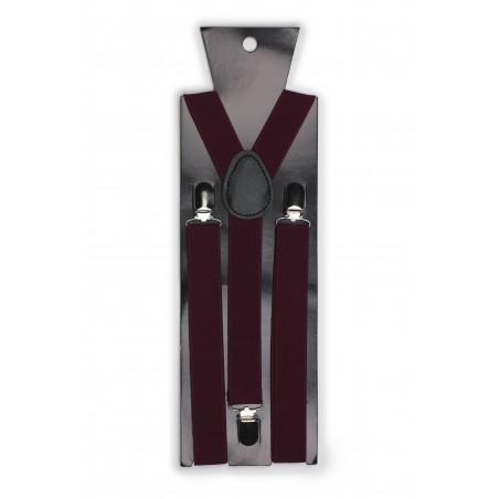 Burgundy Red Elastic Band Suspenders Packaging