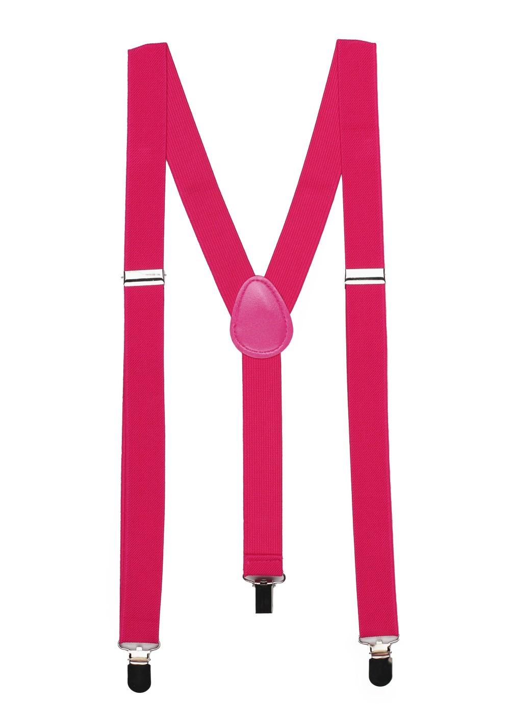 Magenta Pink Elastic Band Suspenders