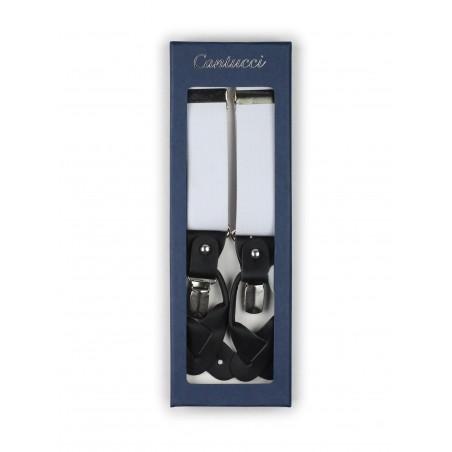 Elegant White Elastic Band Suspenders in Box