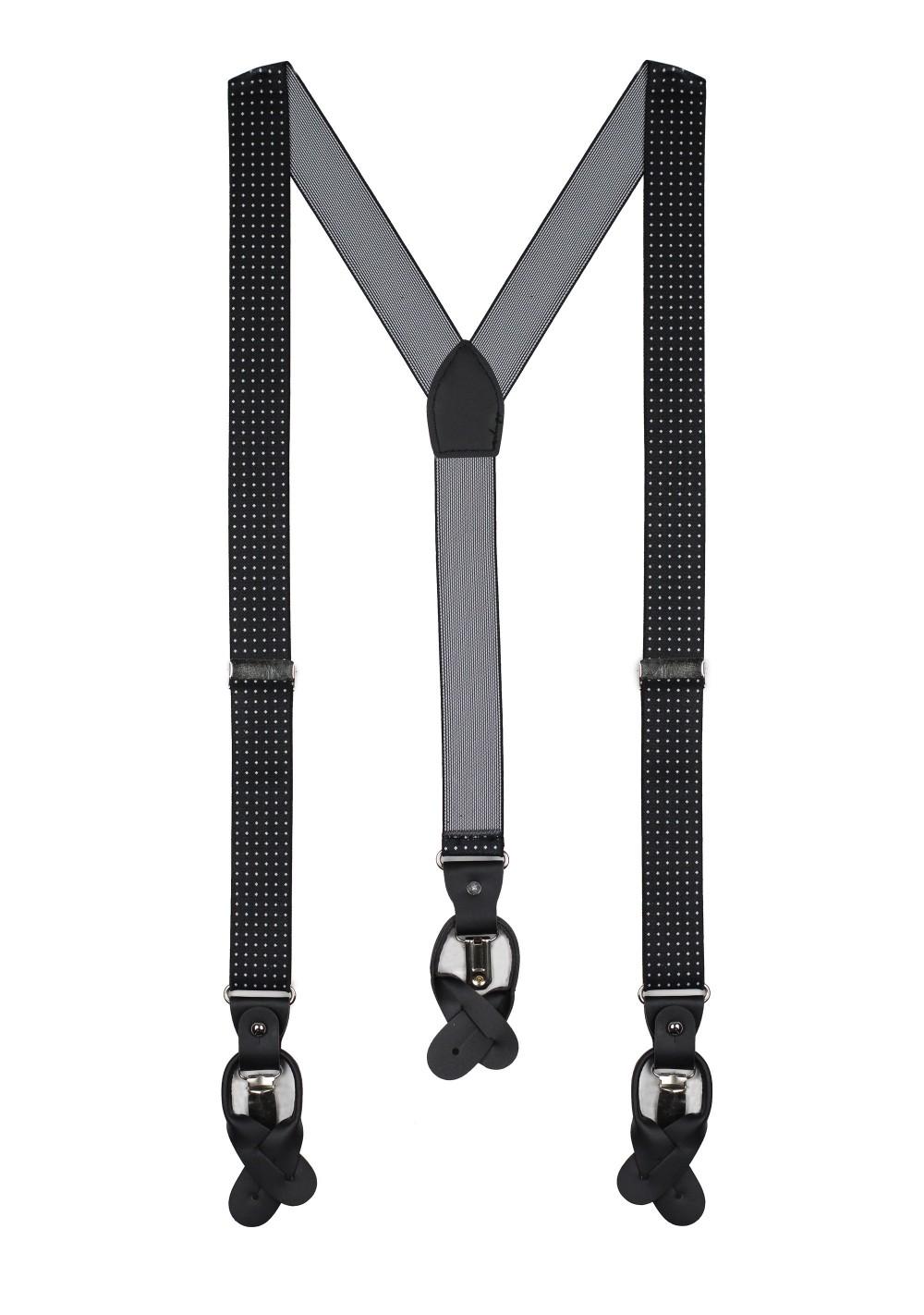 diamond dit mens suspenders in black