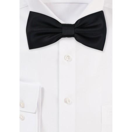 Satin Bow Tie in Jet Black