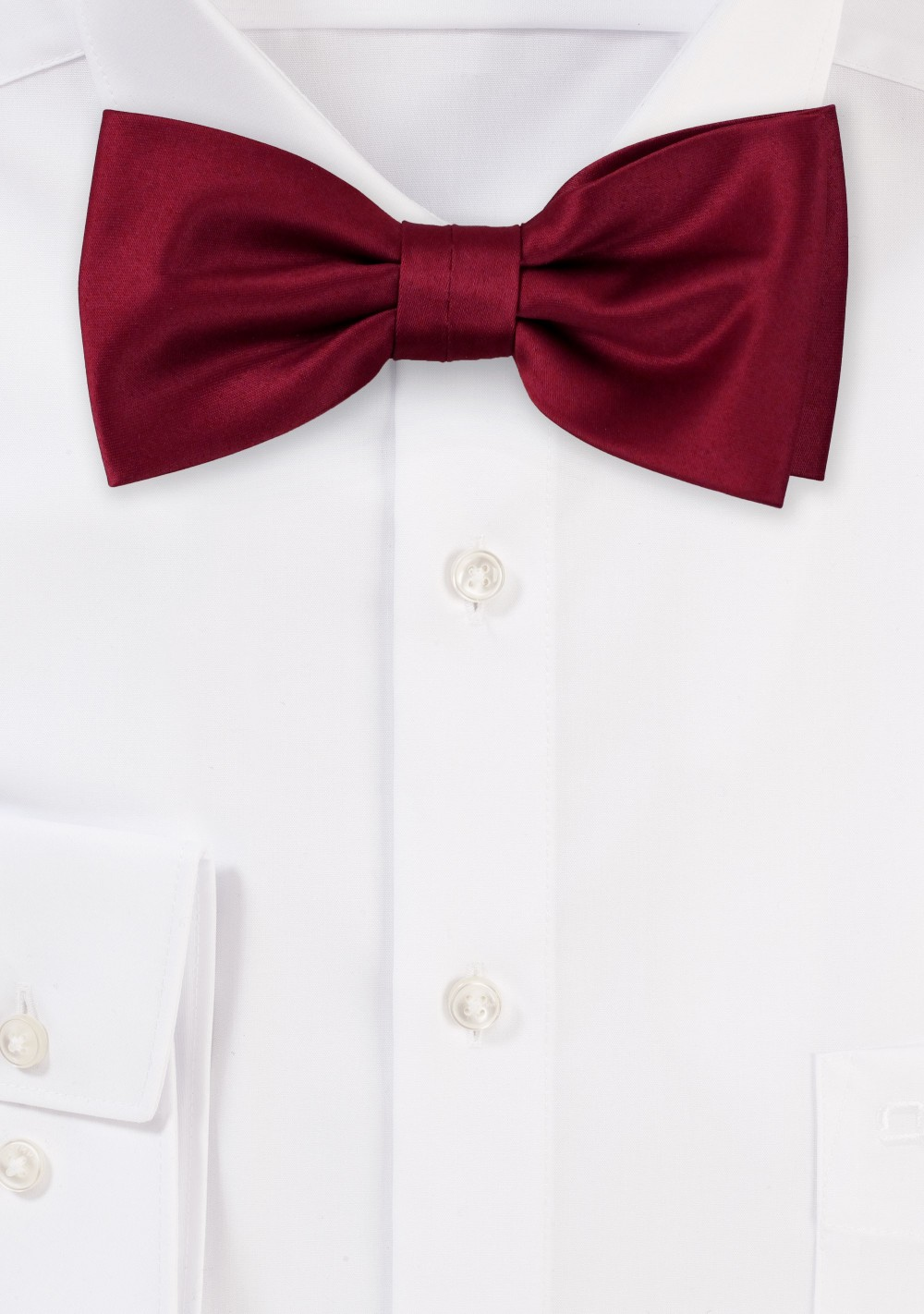 Burgundy Satin Bow Tie