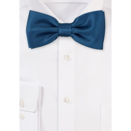 Teal Satin Bow Tie