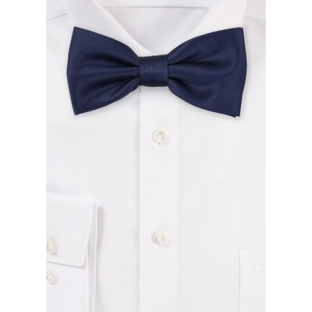 Dark Navy Satin Bow Tie