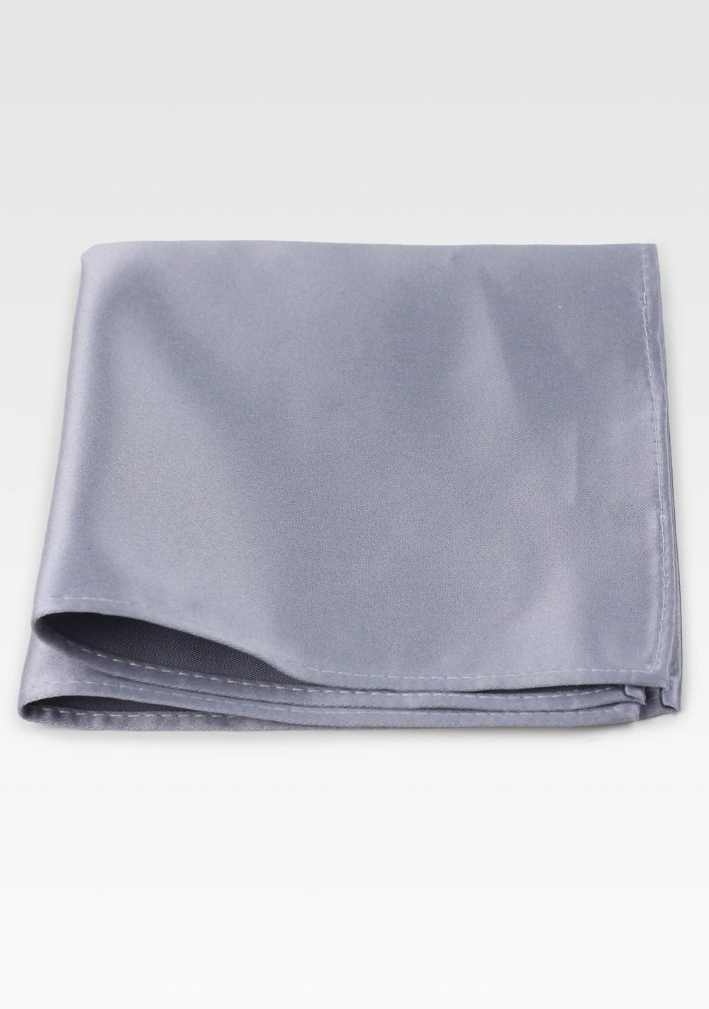 Shiny Silver Pocket Square