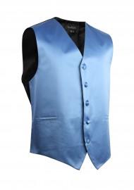 Kids Vest in Steel Blue Satin