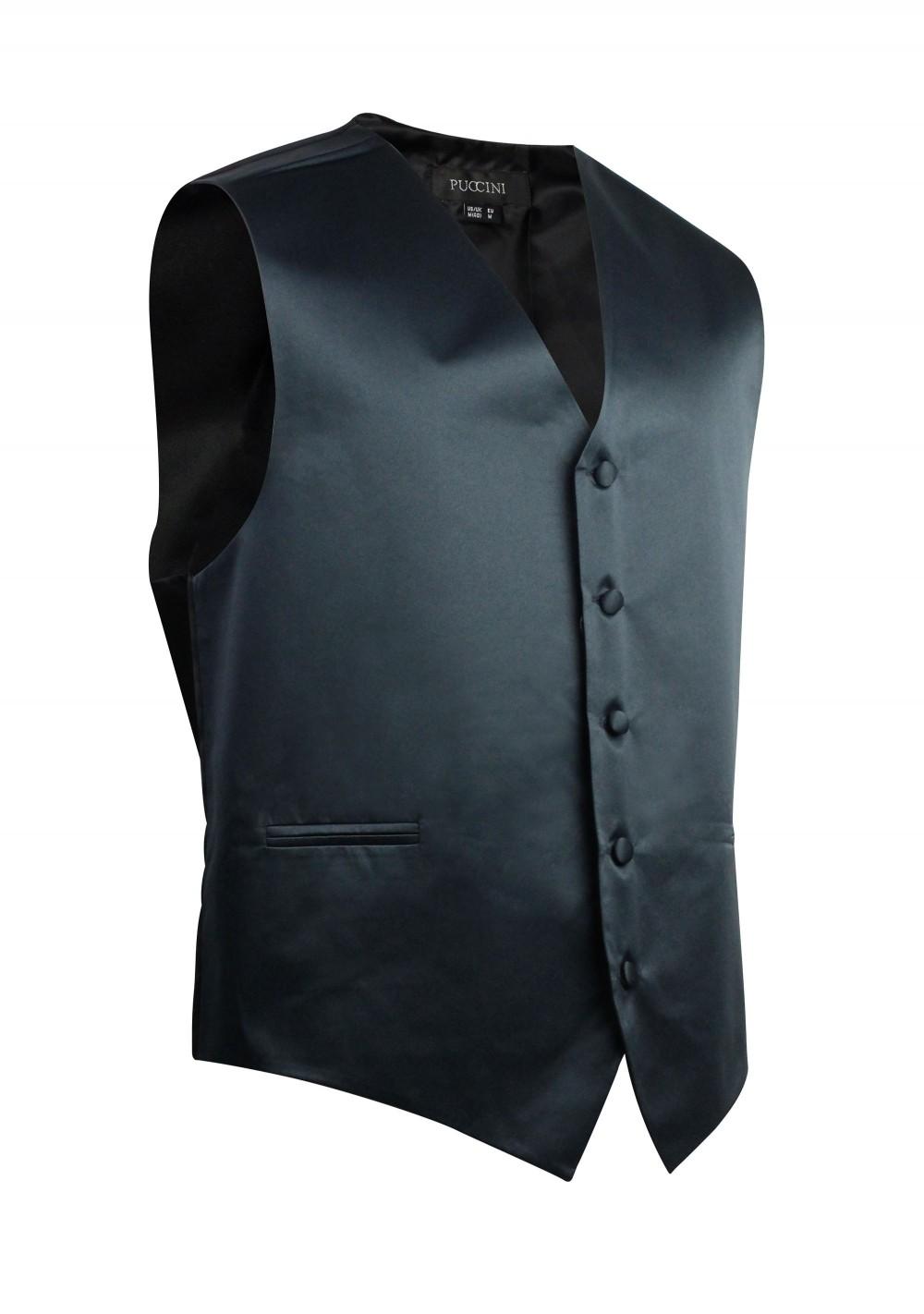Kids Vest in Charcoal Gray Satin