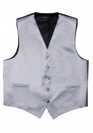 Silver Formal Satin Vest Flat