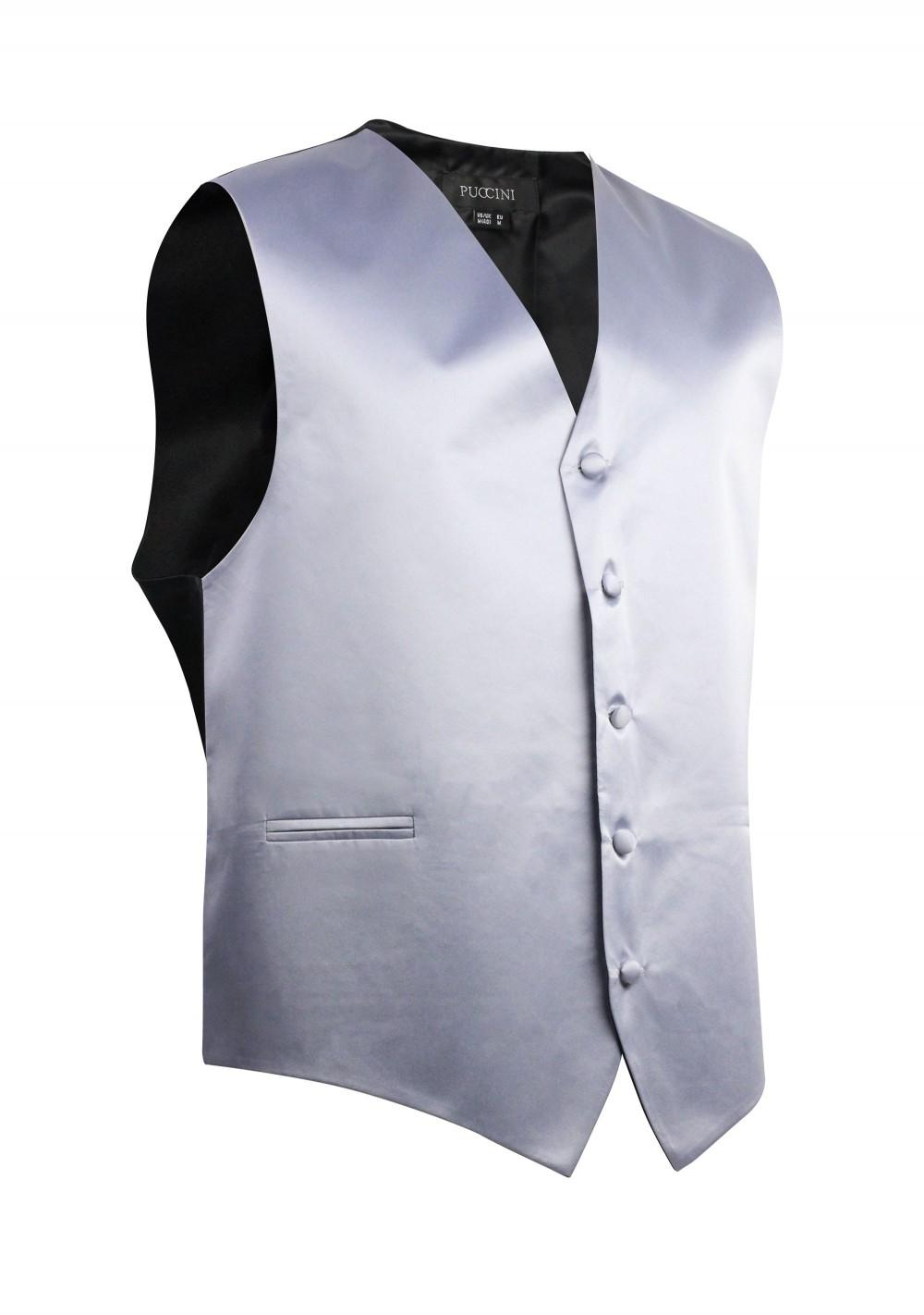 Silver Formal Satin Kids Vest