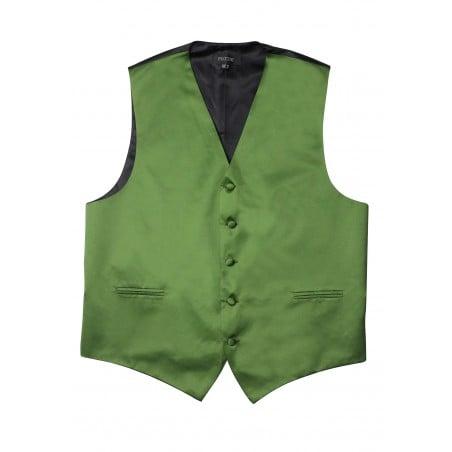 Moss Green Formal Satin Vest Flat