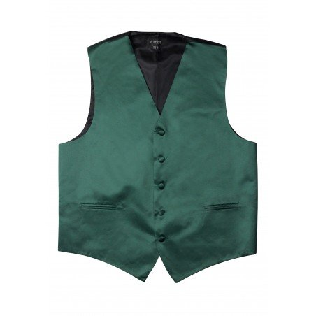 Hunter Green Formal Satin Vest Flat