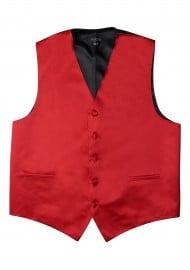 Cherry Red Formal Satin Vest Flat