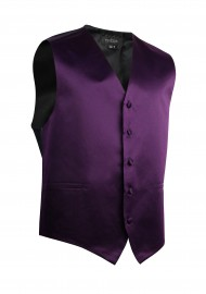 Berry Purple Formal Satin Vest