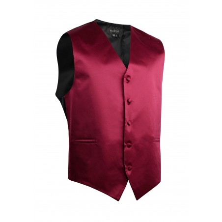 Formal Satin Fabric Dress Vest in Burgundy