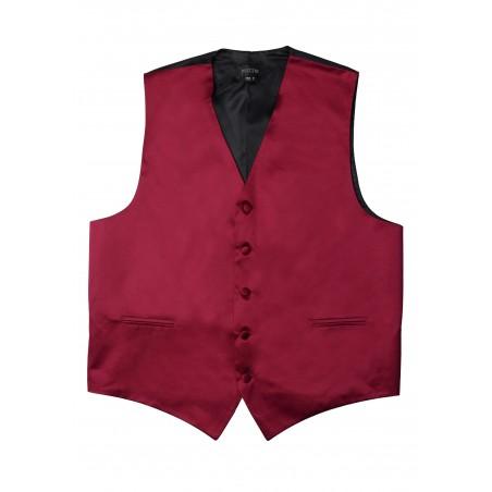 Formal Satin Fabric Dress Vest in Burgundy Flat