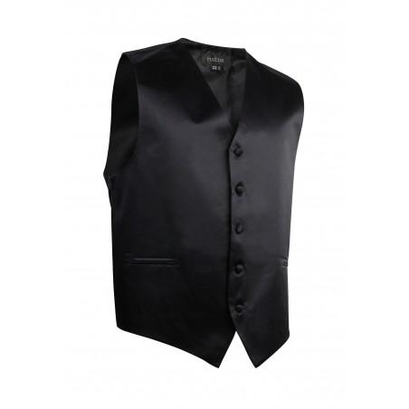 Formal Satin Fabric Dress Vest in Solid Black