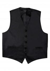 Formal Satin Fabric Dress Vest in Solid Black Flat