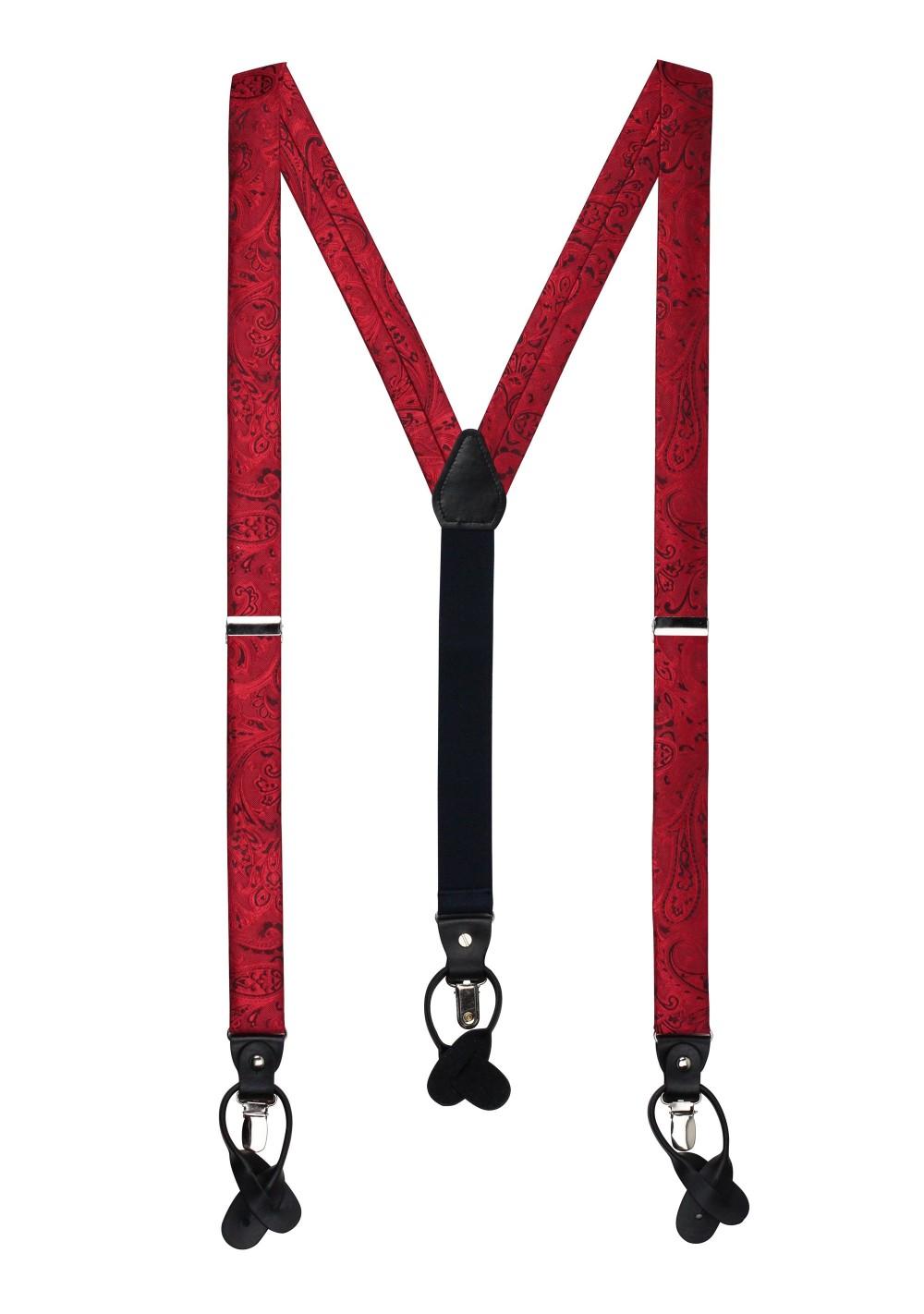Ruby Red Paisley Suspenders
