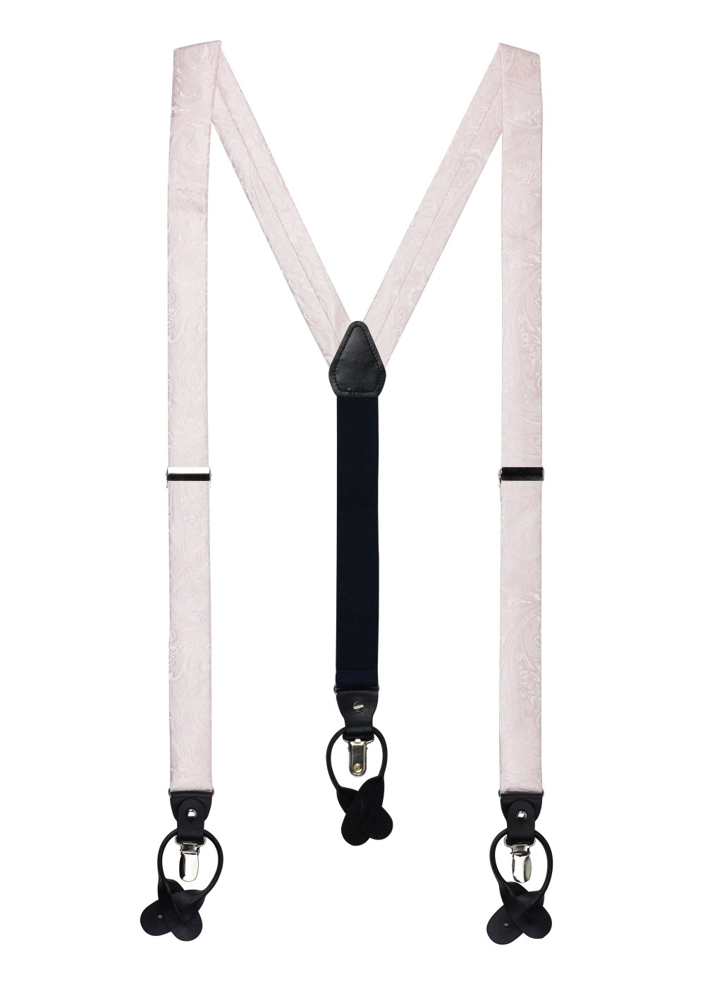 Blush Pink Paisley Suspenders