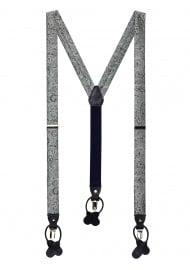 Mercury Silver Paisley Suspenders