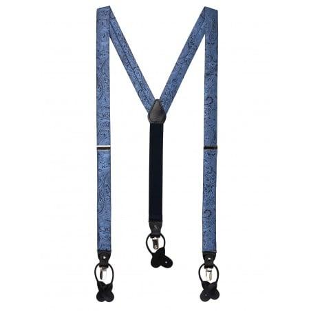Elegant Paisley Suspenders in Steel Blue