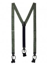 Moss Green Paisley Suspenders