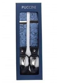 Elegant Paisley Suspenders in Steel Blue in Box