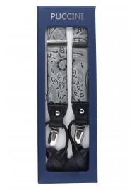 Mercury Silver Paisley Suspenders in Box
