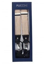Golden Champagne Suspenders with Paisley Patterned Microfiber straps in Box