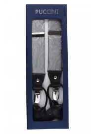 Festive Silver Paisley Suspenders in Box
