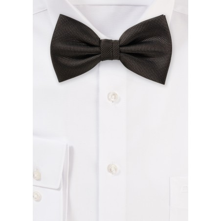 Dark Brown Matte Woven Bow Tie