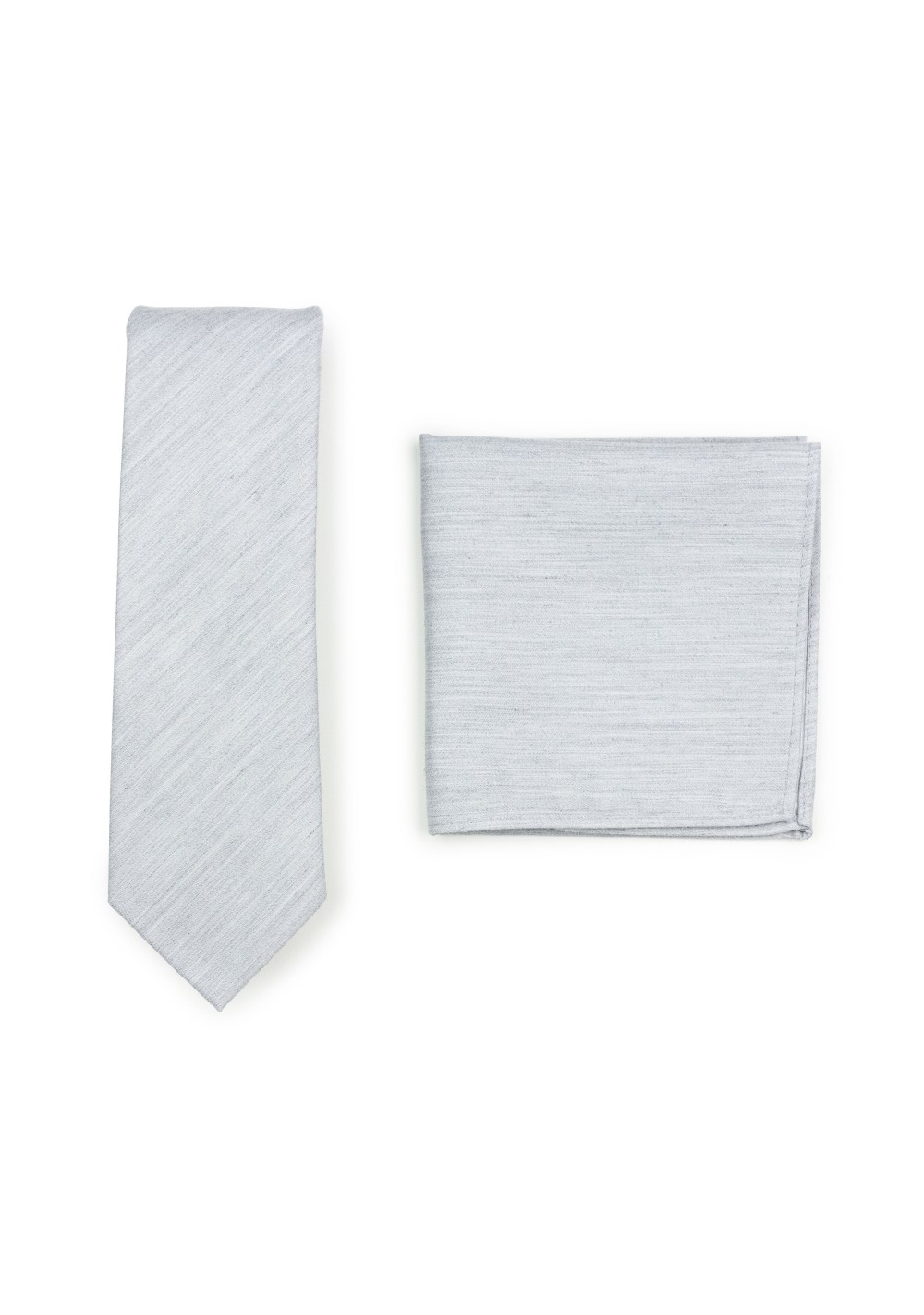 Skinny Tie and Hanky Set in Mystic Gray