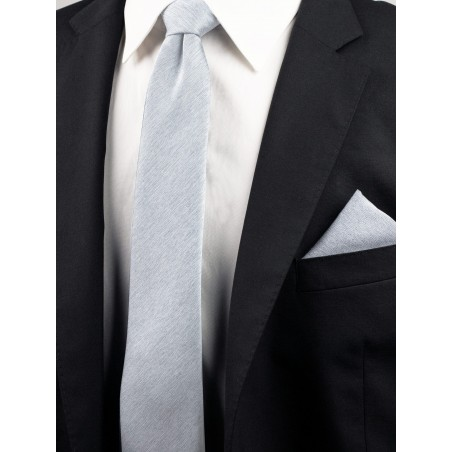 Skinny Tie and Hanky Set in Mystic Gray Styled