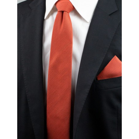 Matte Finish Autumn Tie Set in Cinnamon Styled with Jacket