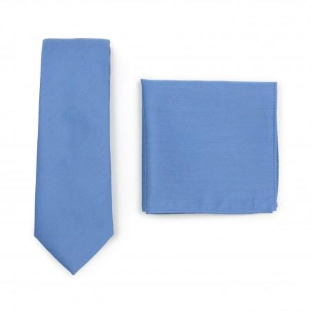 Ash Blue Tie and Hanky Set