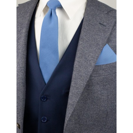 Ash Blue Tie and Hanky Set Styled