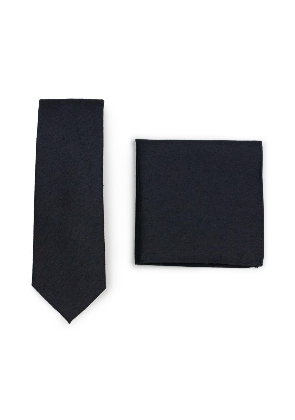 Matte Black Skinny Tie Set