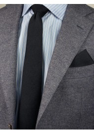 Matte Black Skinny Tie Set Styled
