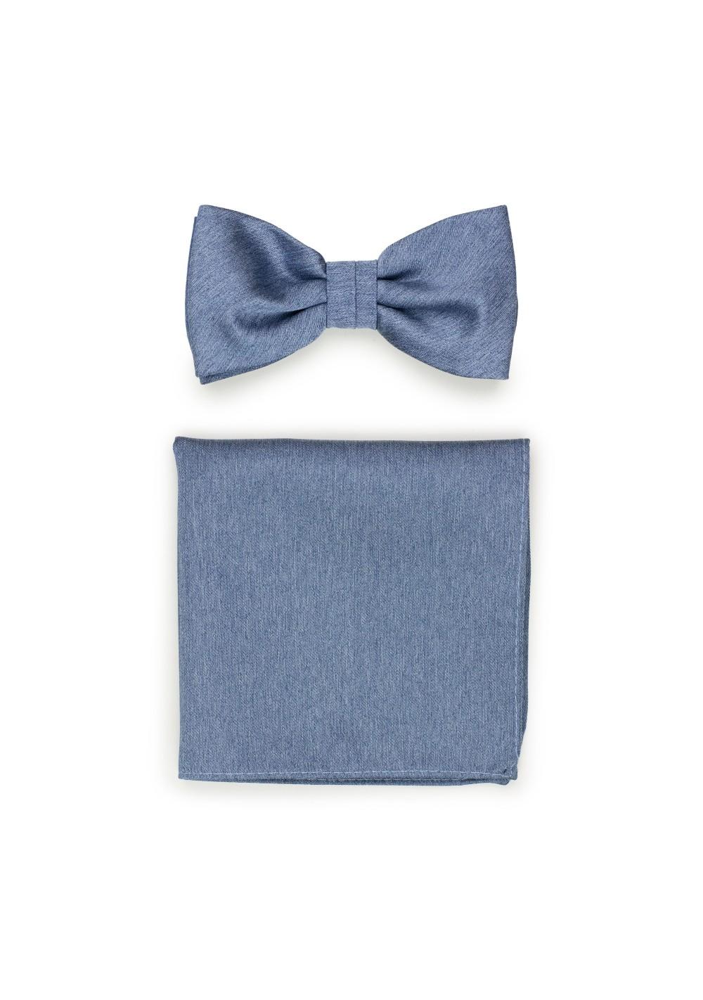 Steel Blue Bow Tie Set